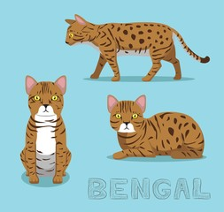 Cat Bengal Cartoon Vector Illustration
