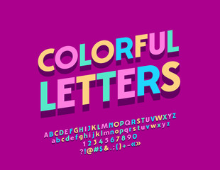 Vector Colorful Letters with Shadow. Artistic Bright Font. Modern style Alphabet, Numbers and Symbols for Icon, Logo, Banner