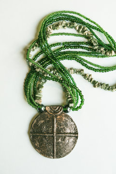African fashion traditional ethnic beads jewelry necklace with metal buckle in green tint.