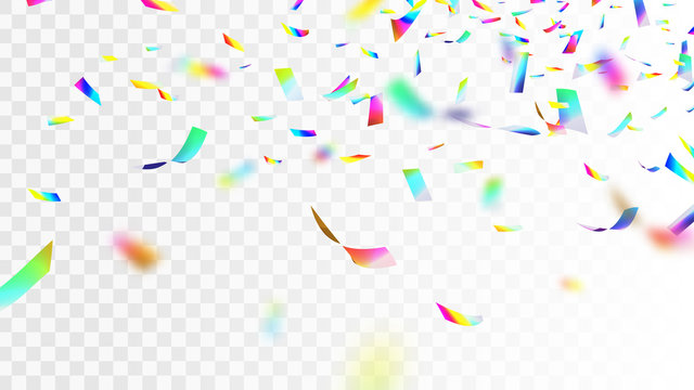 Stock vector illustration defocusing brilliant, shiny Iridescent rainbow confetti isolated on transparent checkered background. Multicolored sequins EPS10