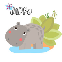 Cute vector cartoon Hippo. Illustrations for children. Baby Shower card with baby hippopotamus and safari elements