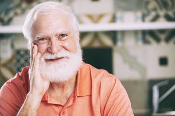 Cheerful aged man