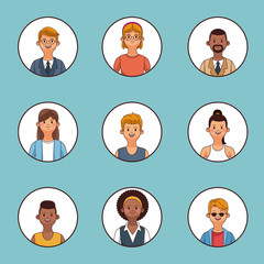 Set of people profile round icons vector illustration graphic design