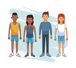 Set of young people cartoons vector illustration graphic design