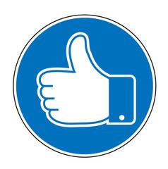 Schild Button mit Like Daumen, Daumen hoch, Feedback Daumen, Like Daumen, Vektor Illustration isoliert auf weißem Hintergrund