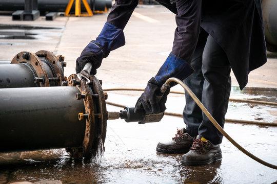Engineer work with pipe pressure test