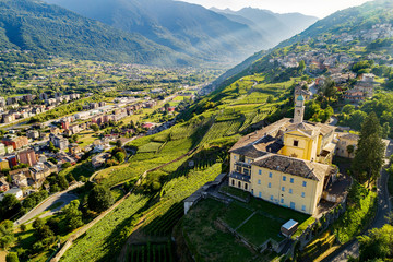 Valtellina (IT) - Sondrio - Frazione S. Anna - Vista aerea del Convento di San Lorenzo Wall mural