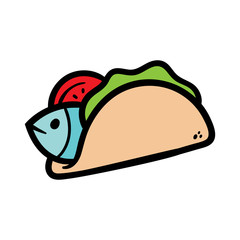 Cartoon Fish Taco