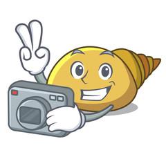 Photographer mollusk shell mascot cartoon