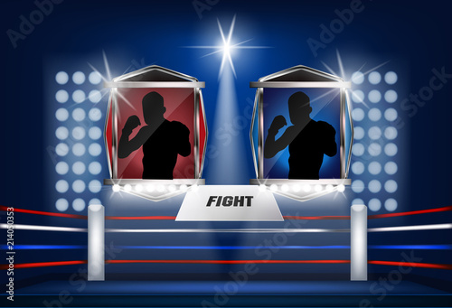 Boxing ring corner with lighting design blue and rad fighter