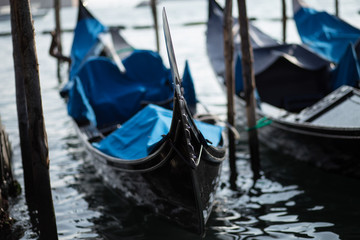 Traditional gondolas of Venice docked in the harbor