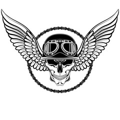 Skull in a motorcycle helmet with wings and chain. Black and white vector image.