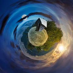 woodshed on little planet spherical panorama