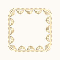 Golden vector frame in boho style. Hand drawn decorative border.