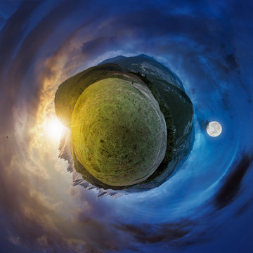 little planet spherical panorama time change