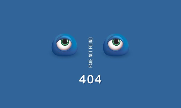 404 page not found Humorous concept of computer error with funny 3d eyes