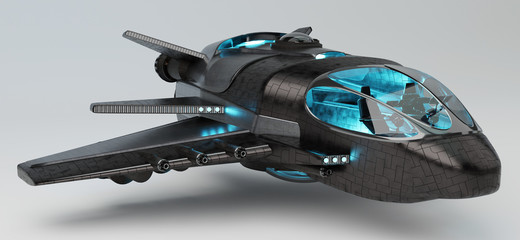 Futuristic spacecraft isolated on grey background 3D rendering