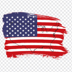 Flag of USA from brush strokes and Blank map USA. High quality map of USA on transparent background. Stock vector. Vector illustration EPS10.