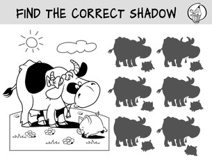 Cow and little pig on a meadow. Find the correct shadow. Educational matching game for children. Black and white cartoon vector illustration