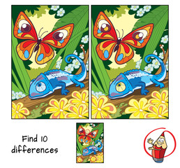 Butterfly and chameleon. Find 10 differences. Educational game for children. Cartoon vector illustration