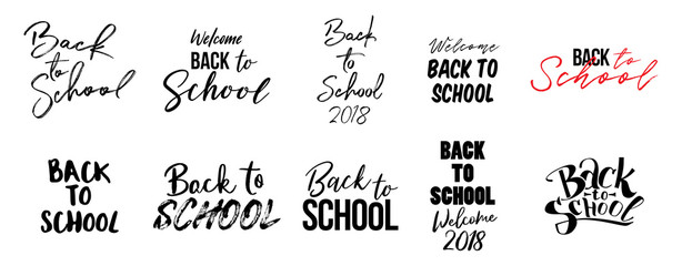 Big set of Welcome back to school labels. School Background. Education tag. Vector illustration. Typography, calligraphy badges.