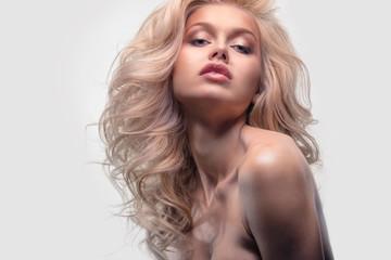 Beauty headshot closeup portrait of blonde