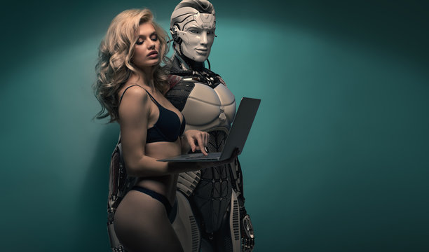 Blonde Girl and Robot