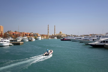 Entrance to the port of Hurghada in Egypt
