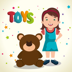 Keuken foto achterwand Beren little girl playing with toys character