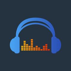 Icono plano auriculares con ecualizador en azul y naranja en fondo gris