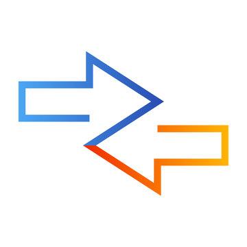 Icono plano flechas dos direcciones en azul y naranja