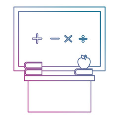 chalkboard and desk classroom scene