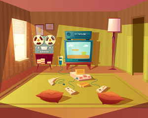 Vector cartoon illustration of empty playroom for children with game 8-bit console, tv screen and joysticks. Kids room for leisure and fun, interior with furniture, green carpet, walls, floor lamp