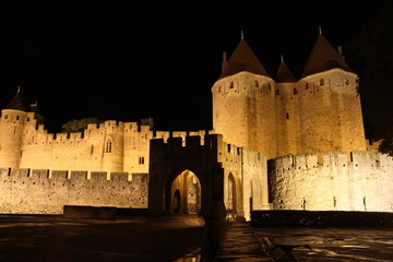 Carcassonne medieval castle by night