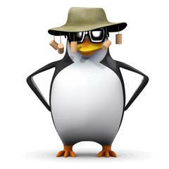 Vector 3d Funny cartoon penguin character wearing an Australian bush hat