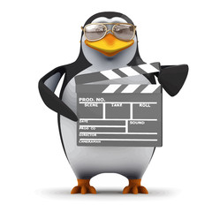 Vector 3d Funny cartoon penguin is making a movie
