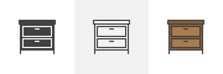 Fototapeta Chest of drawers icon. Line, solid and filled outline colorful version, outline and filled vector sign. Symbol, logo illustration. Different style icons set. Pixel perfect vector graphics obraz