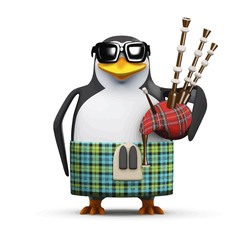 Vector 3d Scottish penguin with bagpipes