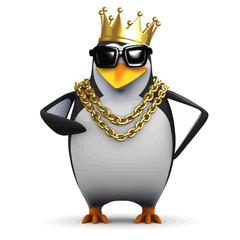 Vector 3d Rapper penguin wears the gold crown