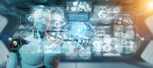 White male cyborg using digital datas interface 3D rendering