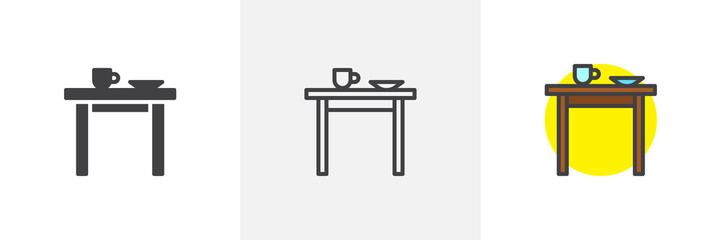 Kitchen table icon. Line, solid and filled outline colorful version, outline and filled vector sign. Symbol, logo illustration. Different style icons set. Pixel perfect vector graphics