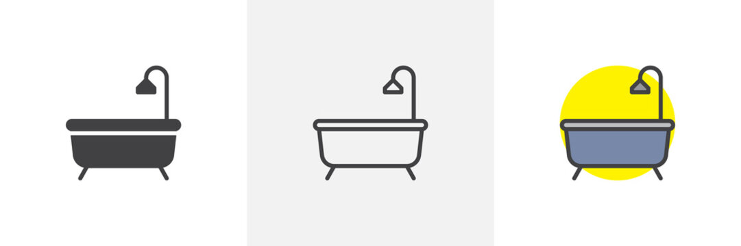 Bathtub with shower icon. Line, solid and filled outline colorful version, outline and filled vector sign. Bath symbol, logo illustration. Different style icons set. Pixel perfect vector graphics