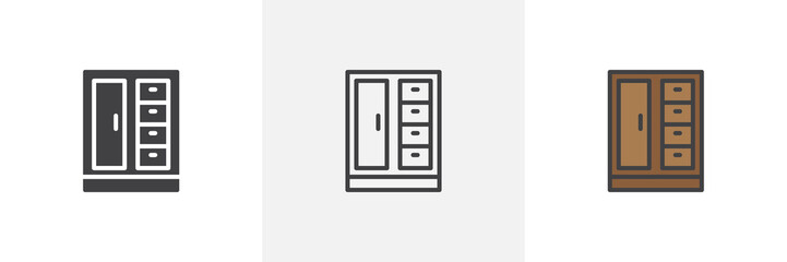 Cupboard icon. Line, solid and filled outline colorful version, outline and filled vector sign. Symbol, logo illustration. Different style icons set. Pixel perfect vector graphics