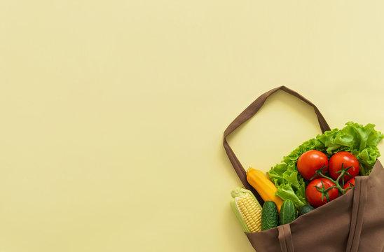 fresh vegetables in cotton bag, zero waste concept,