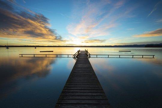 Jetty, early morning at Lake Starnberg near Tutzing, Bavaria, Germany, Europe, PublicGround, Europe
