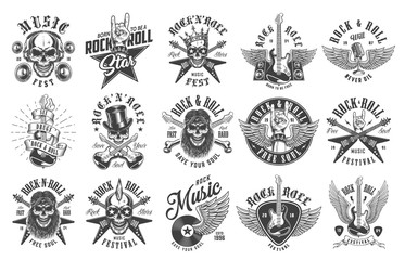 Rock and roll emblems Wall mural