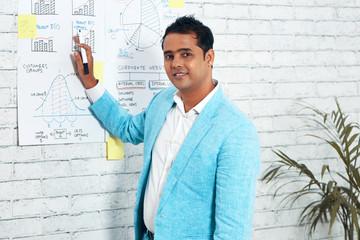 Businessman explaining diagram