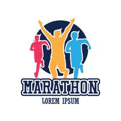 running race people / marathon, sport and activity logo