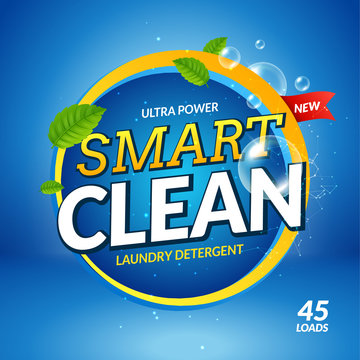 Laundry detergent banner ckeanser design vector. Bathroom colorful powder packaging template advertising