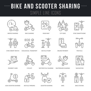 Set Vector Line Icons of Bike and Scooter Sharing.